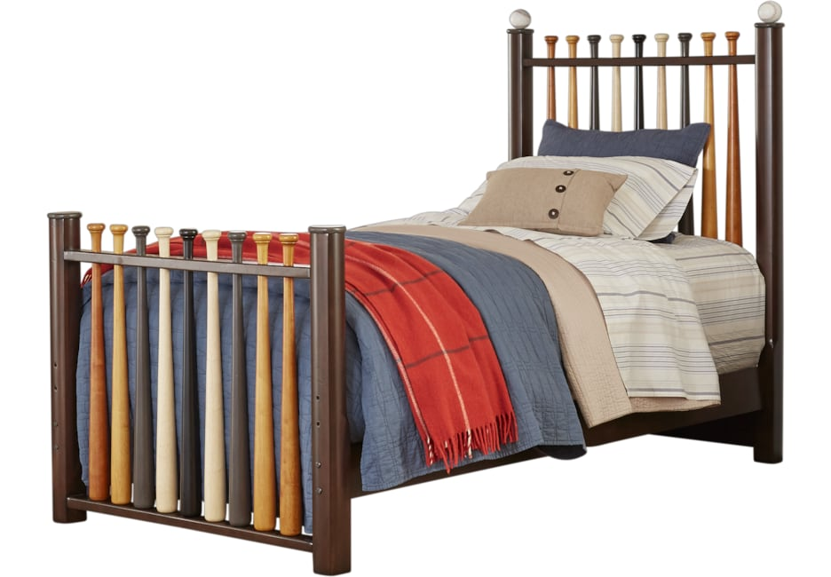 Batter Up Cherry 2 Pc Twin Baseball Bed Bedroom Furniture Stores
