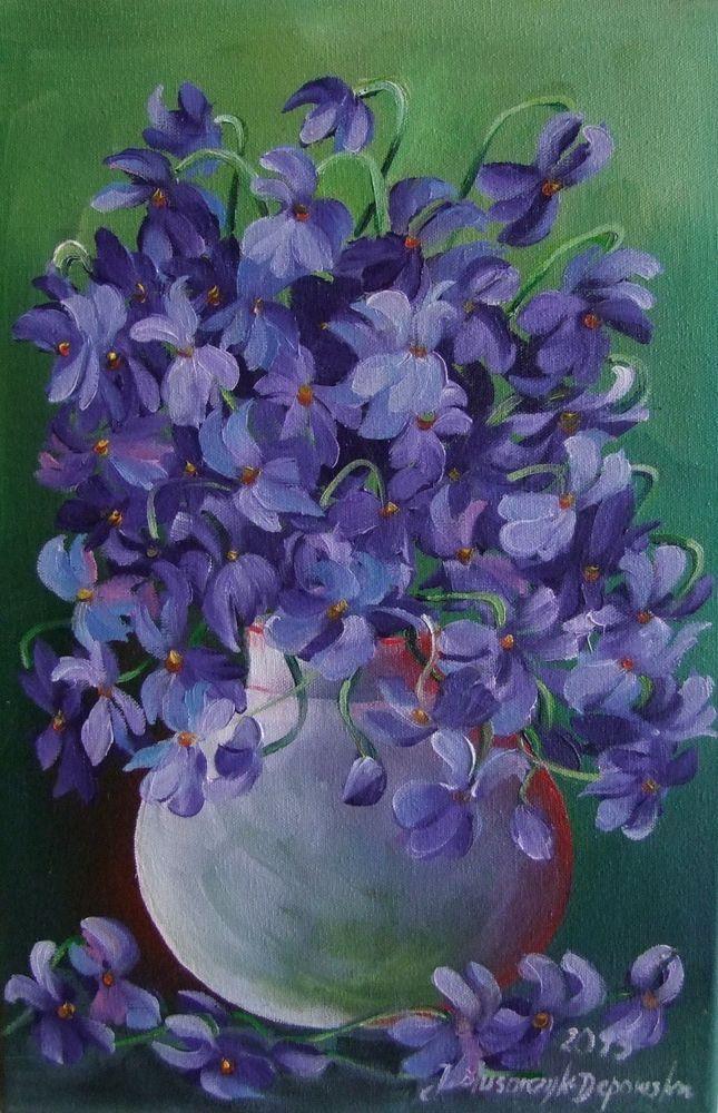 Violets Bouquet Impressionist Fine Original Oil Painting Europe Artist Purple #Impressionism