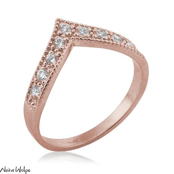 Rose Gold Art Deco V Diamond Ring Unique Art Deco Style V Ring