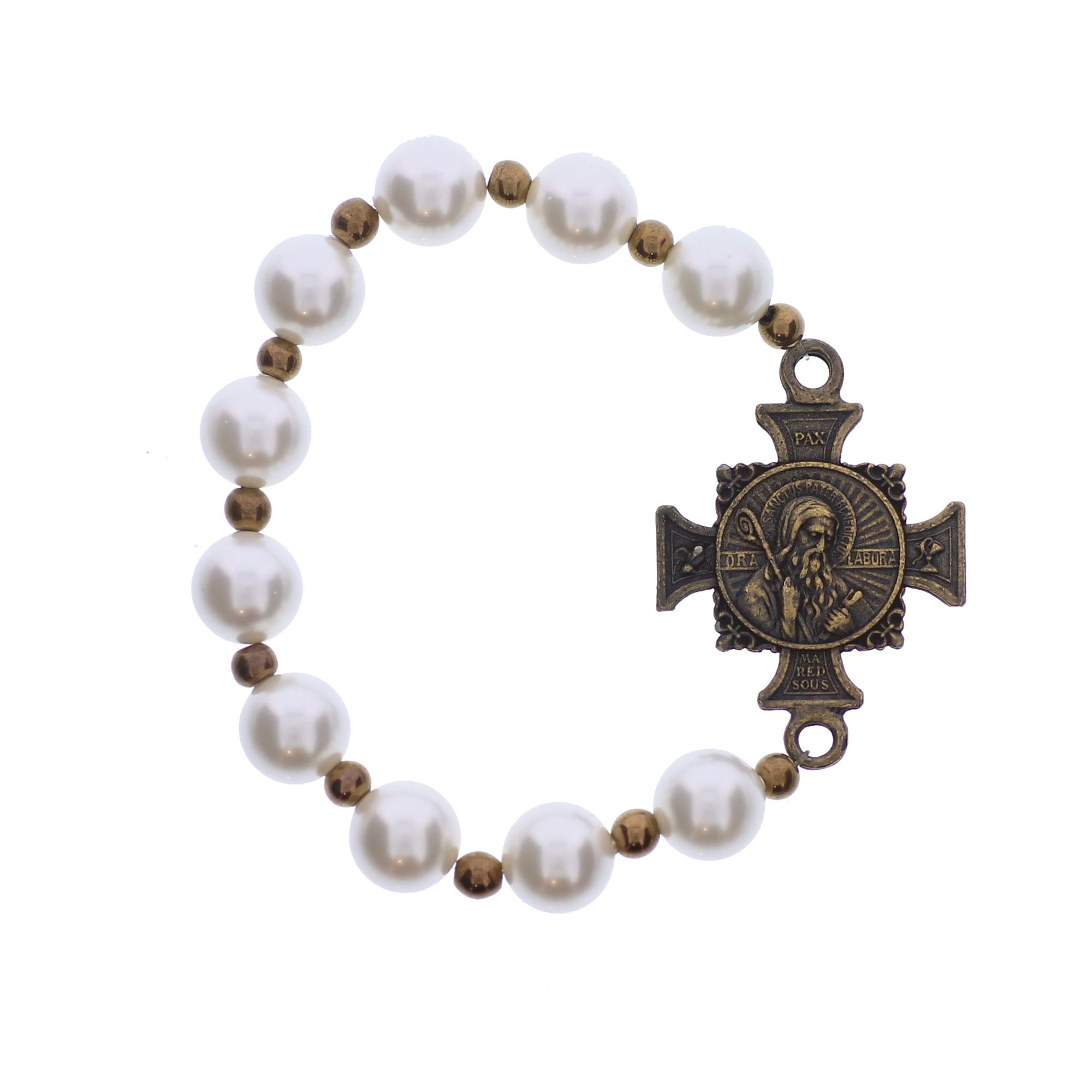 company catholic st bracelet saint medallion of medal black the benedict