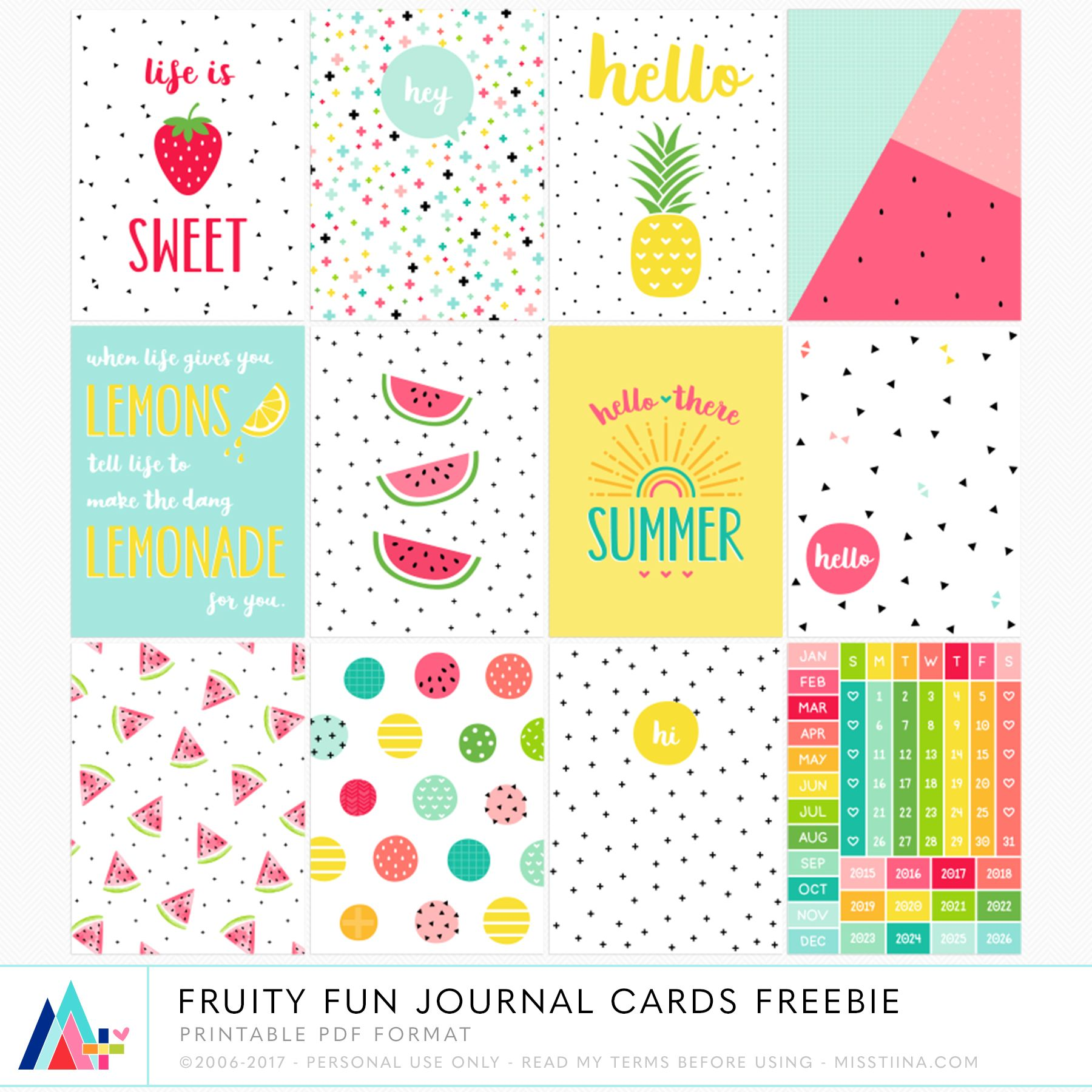 graphic regarding Free Printable Journal Cards named No cost PRINTABLE Fruity Enjoyable Magazine Playing cards Sbooking