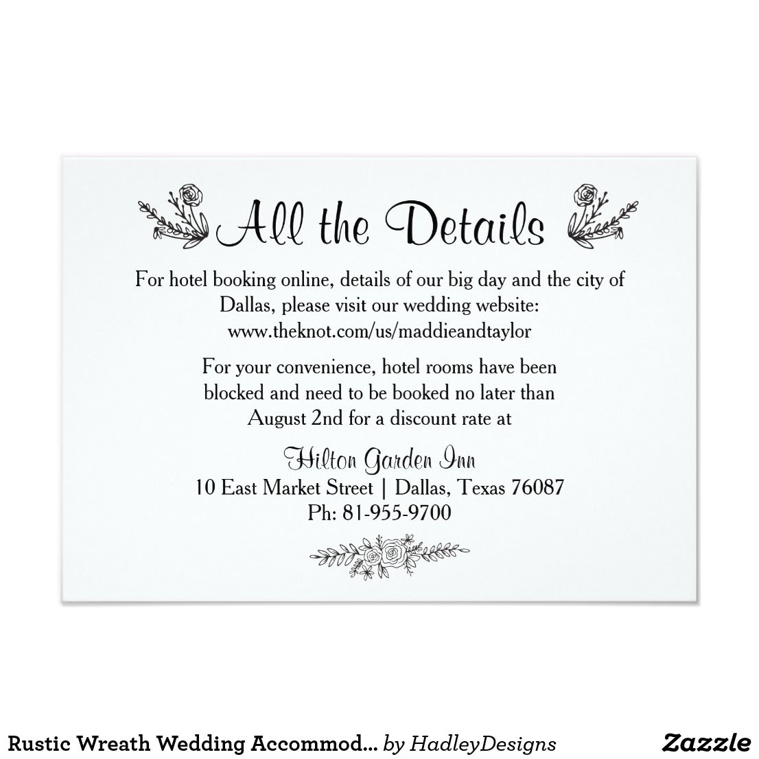 Rustic Wreath Wedding Acmodation Card: Acmodation Cards For Wedding Invitations At Websimilar.org