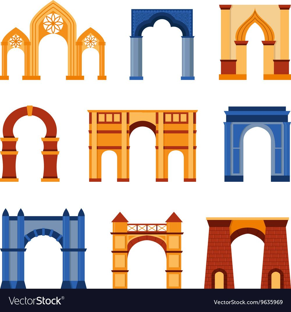 Arch Set Vector Image On Vectorstock Entrance Design Entrance Gates Design Pillar Design
