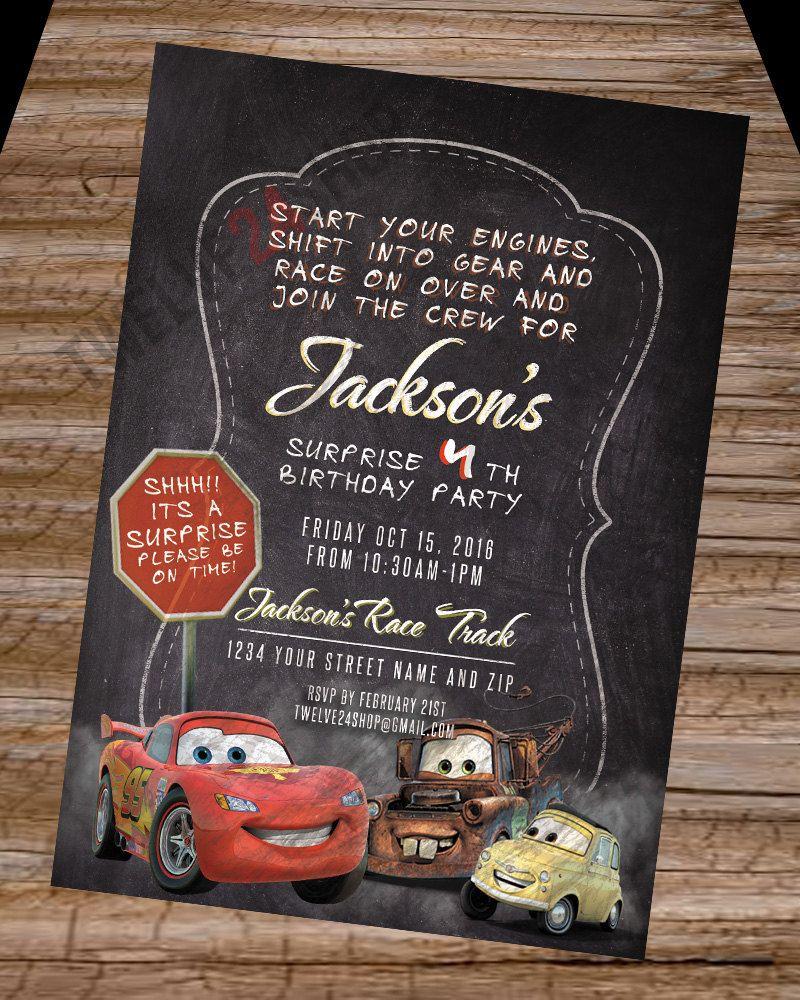 Disneys Cars Birthday Invitation Lightning McQueen Mater Luigi