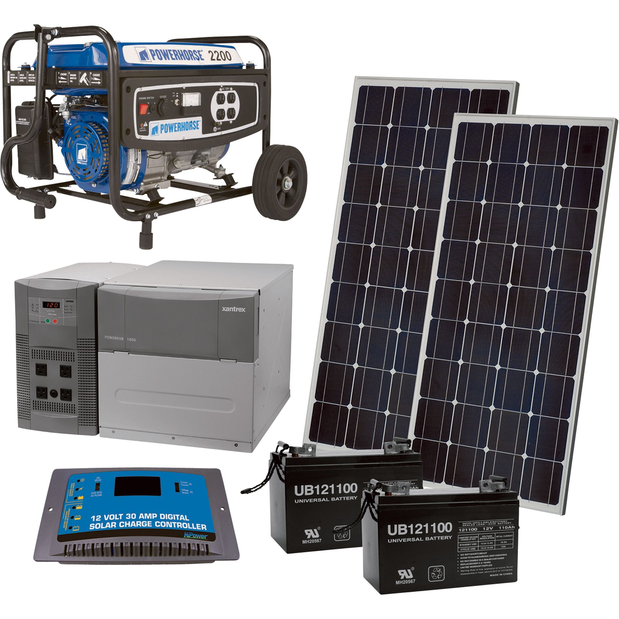 NPower™ Complete Solar Power Package with Backup Generator — 1800 Watts in Bypass Mode + 2200 Additional Generator Watts | Solar Wind Systems| Northern Tool + Equipment