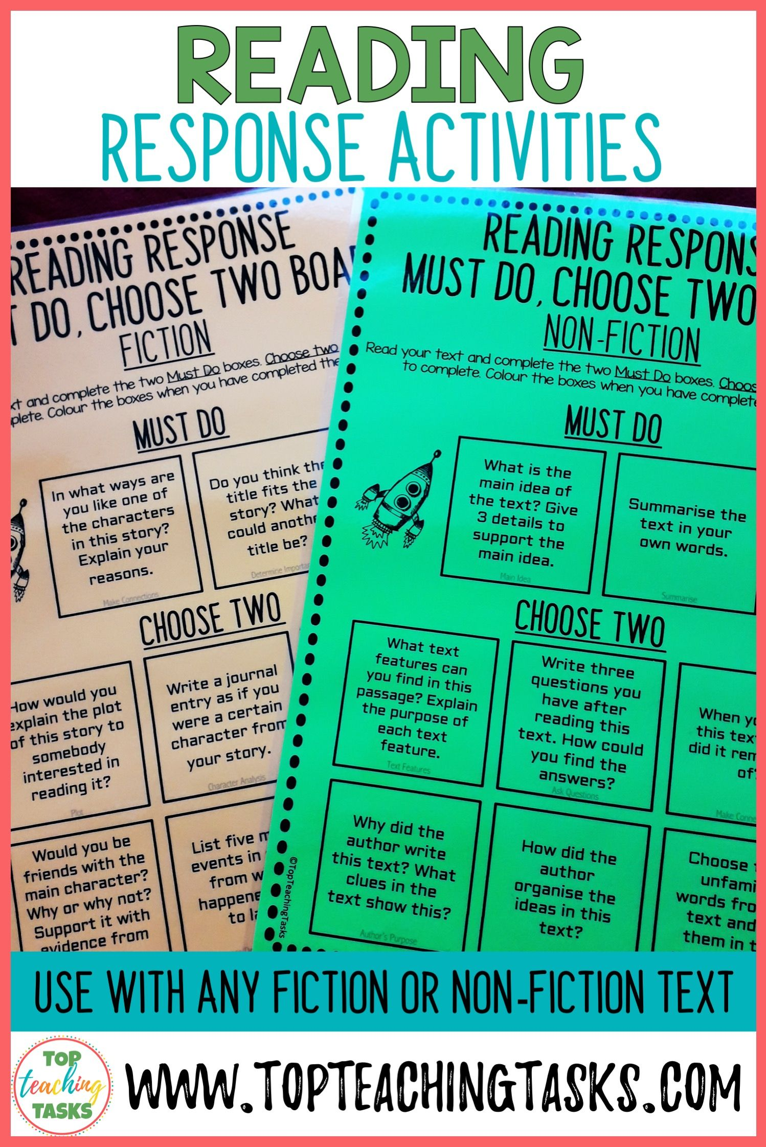 Reading Response Worksheets For Fiction And Non Fiction