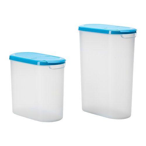 jÄmka vorratsbehälter mit deckel 2er-set, transparent weiß, blau ... - Vorratsbehälter Küche