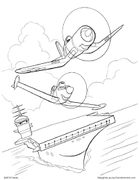 skipper and dusty soar above the aircraft carrier coloring page