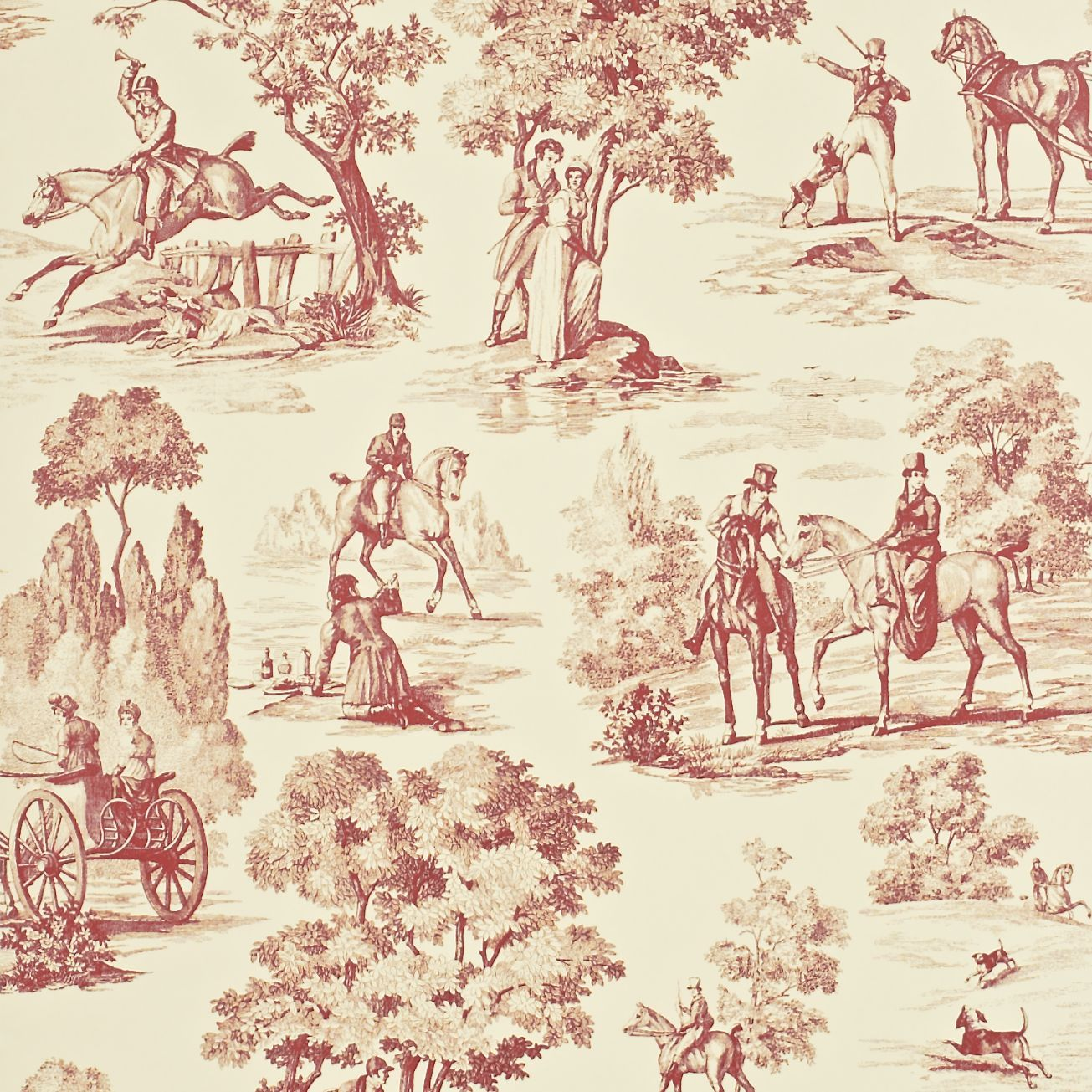 Fox Hunting toile Sanderson wallpaper