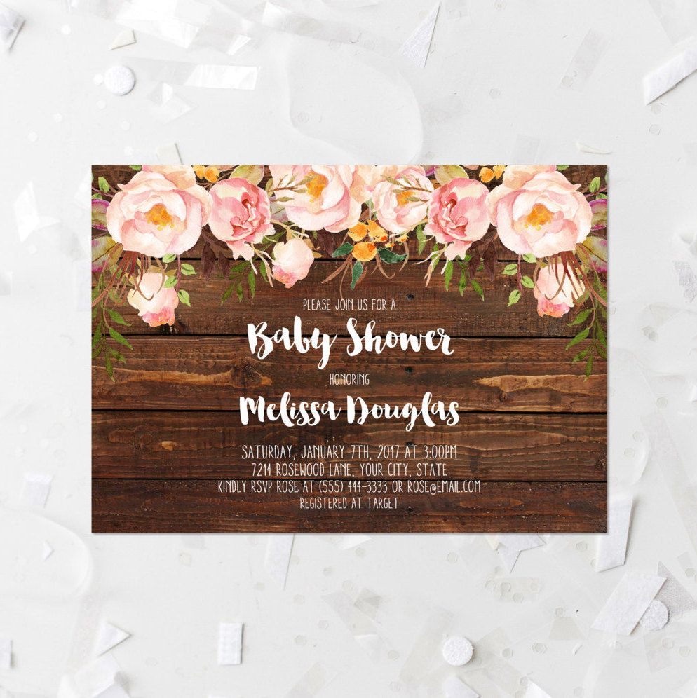 Rustic Floral Baby Shower Invitation Printable Blush Floral Baby ...