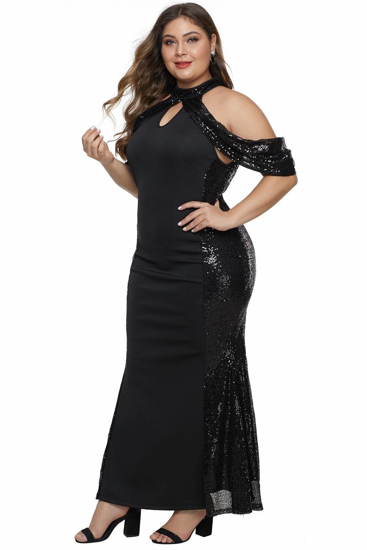 plus size black sequin party dress
