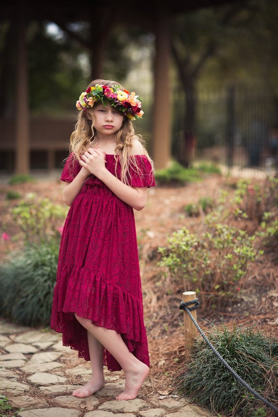 4d0a5d4f8 Boho Burgundy Flower Girl Lace Dress, Bohemian High Low Lace Dress for Girls  Toddlers, Off Shoulder