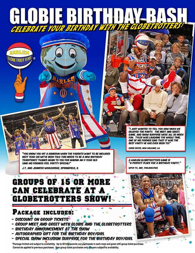 Birthday Party Ideas Celebrate Your With The Harlem Globetrotters At Game January 25 2013