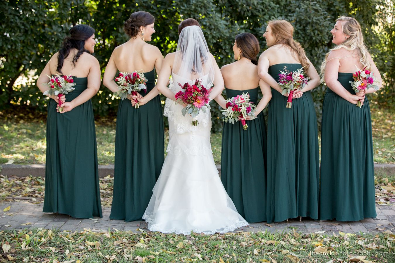fall wedding, hunter green bridesmaids dresses