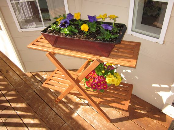 Outdoor Wood Plant Stand Table Perfect For Porch Or Deck Outdoor