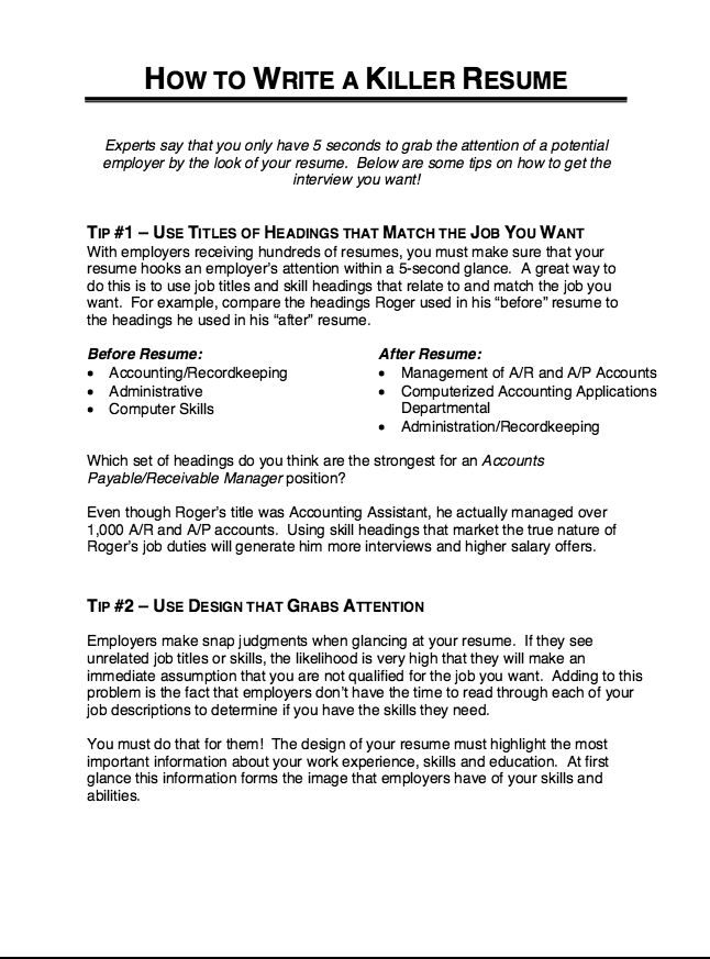 Resume Title Examples How To Write A Killer Resume  Httpresumesdesignhowto