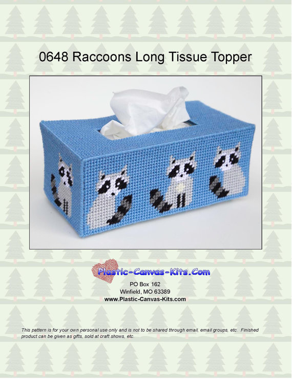 Raccoon Long Style Tissue Topper-Plastic Canvas Pattern ...