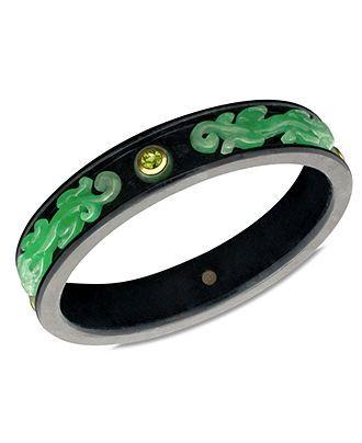 14k Gold Bracelet, Jade (5mm), Onyx (16-17mm) and Peridot (2-1/4 ct. t.w.) Bangle - Bracelets - Jewelry & Watches - Macys