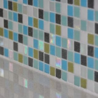 Brio glass mosaic #tile custom backsplash is a blend of greens, blues, aquas and pearly white. www.modwalls.com