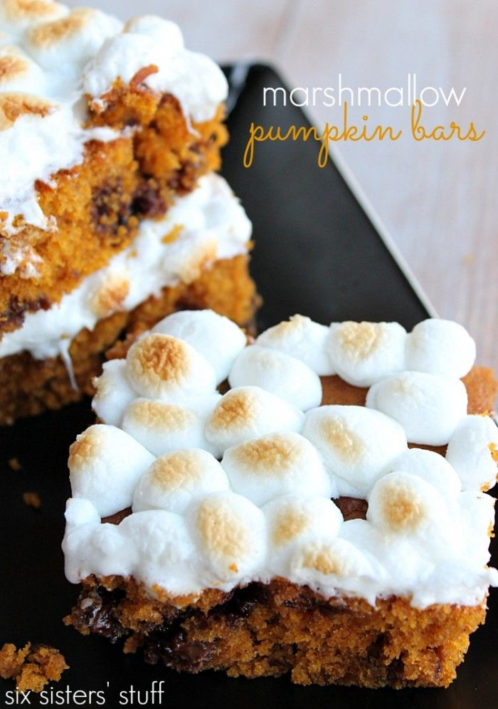 Marshmallow Pumpkin Bars from Six Sisters' Stuff are a great fall treat!