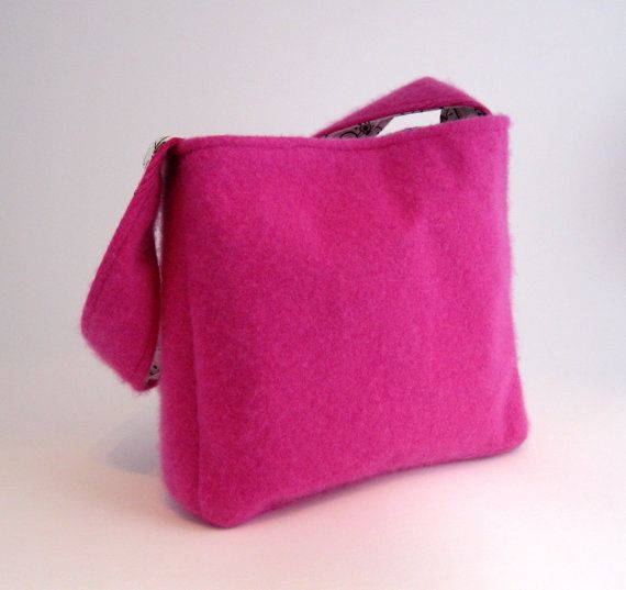 Upcycled Sweater Purse | ... purse/ Felted Cashmere/ Super-soft (OOAK) Upcycled from pink sweater