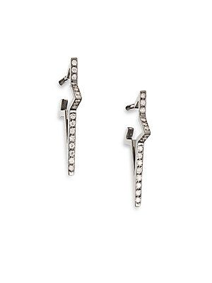 Diane Kordas Star Diamonds & Blackened 18K White Gold Hoop Earring