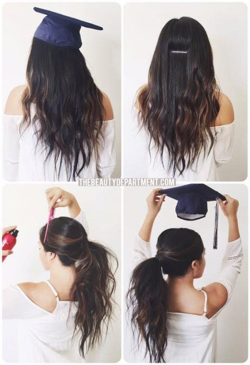 Graduation Hair Hack Graduation Hairstyles Hair Hacks Graduation Hairstyles With Cap