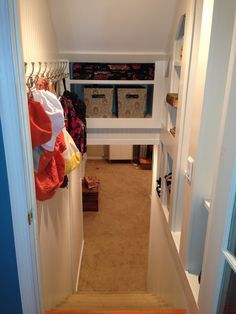 Basement stairwell- love the storage area