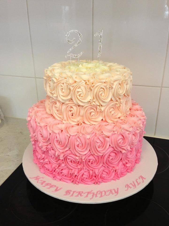 2 Tier Ombre Buttercream Rose Cake 1st Birthday In 2018
