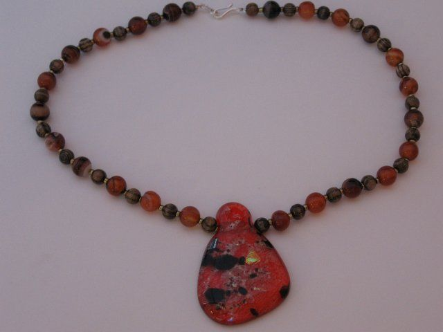 Early work #fused #glass #gemstone #wood #beads #necklace