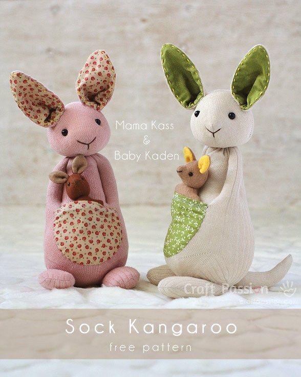 Pattern and tutorial: Sock kangaroo softie | dia de la madre ...