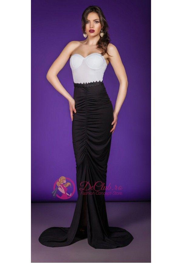 Rochii de seara ieftine: Rochie sirena corset alb fusta neagra ...