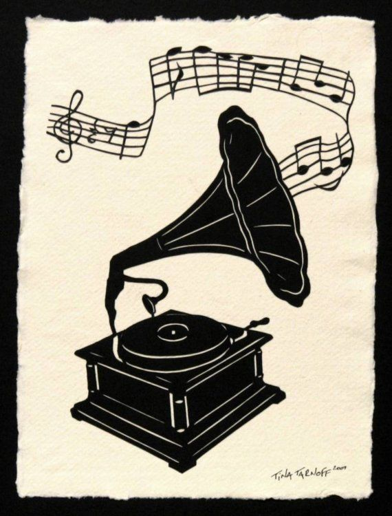 Victrola  HandCut Silhouette Papercut by tinatarnoff on Etsy, $85.00