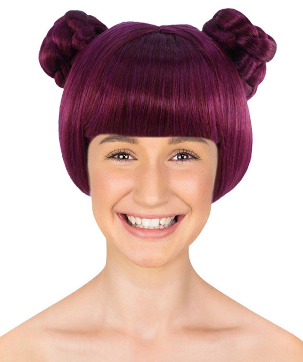 Photo of Anime Buns Wig | Purple Buns Cosplay Party Wigs | Premium Breathable Capless Cap