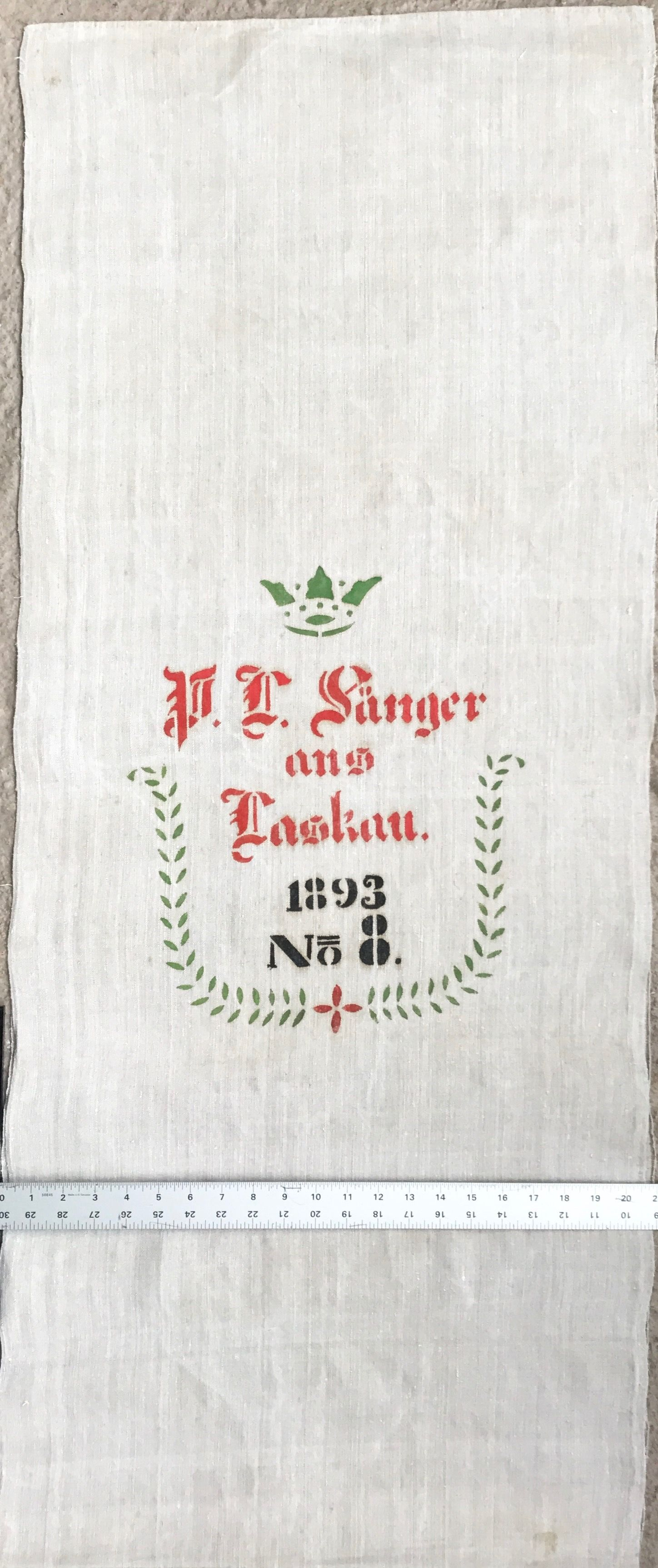 Original Historic German Grain Flour Sack Batch 38 Print RARE Color Very