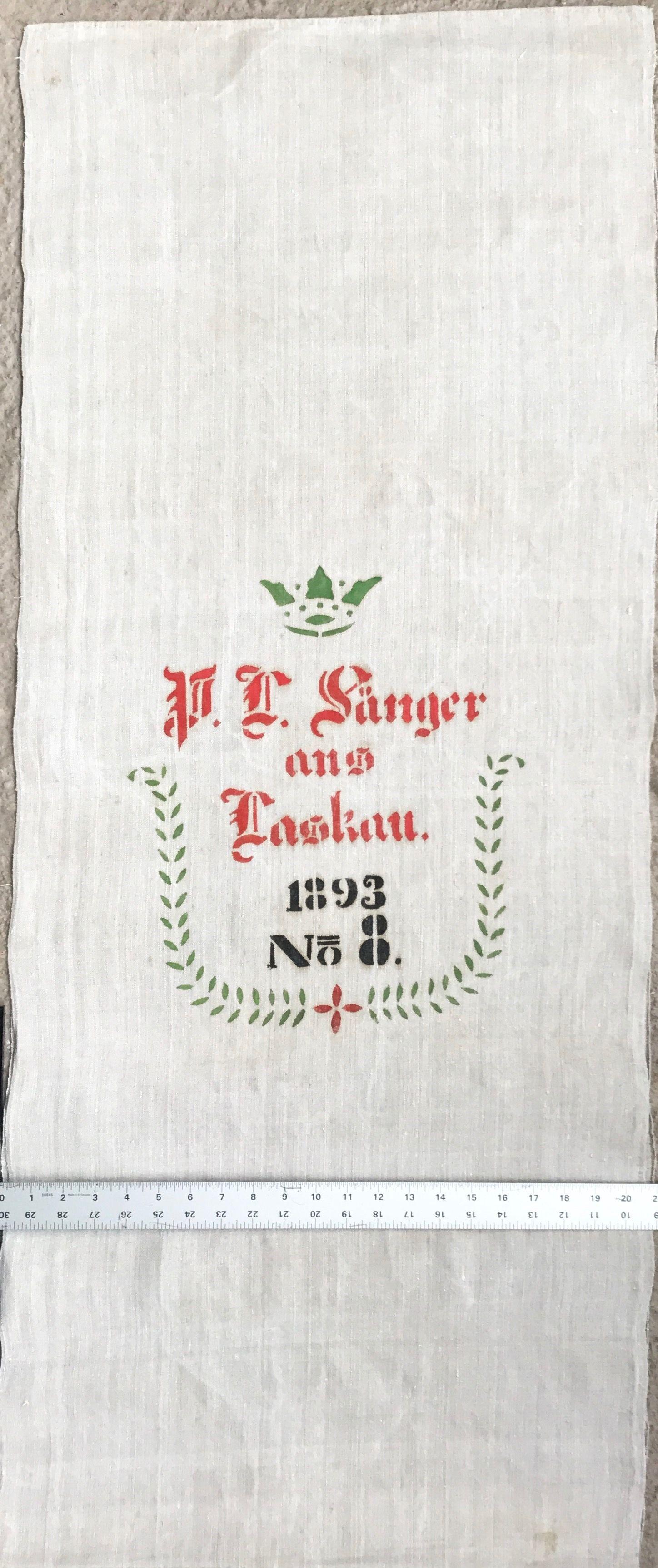 Original Historic German Grain Flour Sack Batch 38 Print RARE Color Very