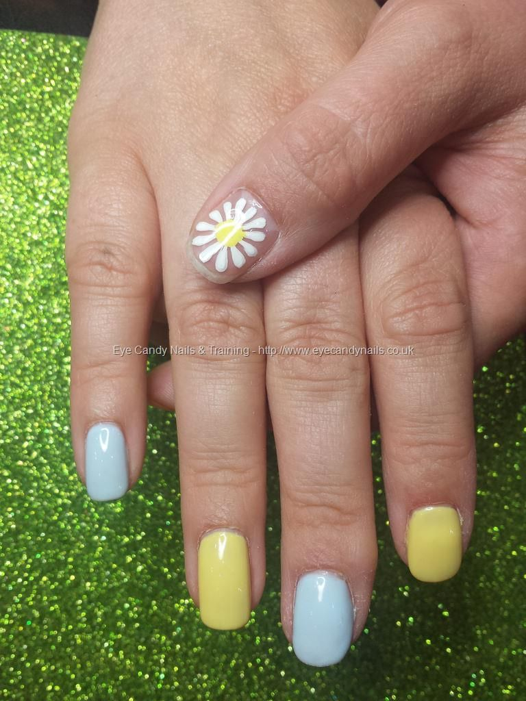 Pale blue and lemon gel polish with freehand daisy | Eye Candy ...