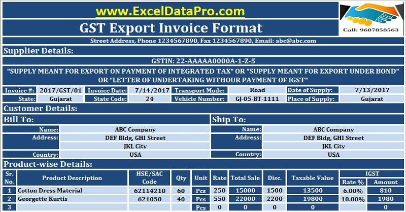 Download GST Export Invoice Format In Excel Under GST Regime GST - sample invoice format