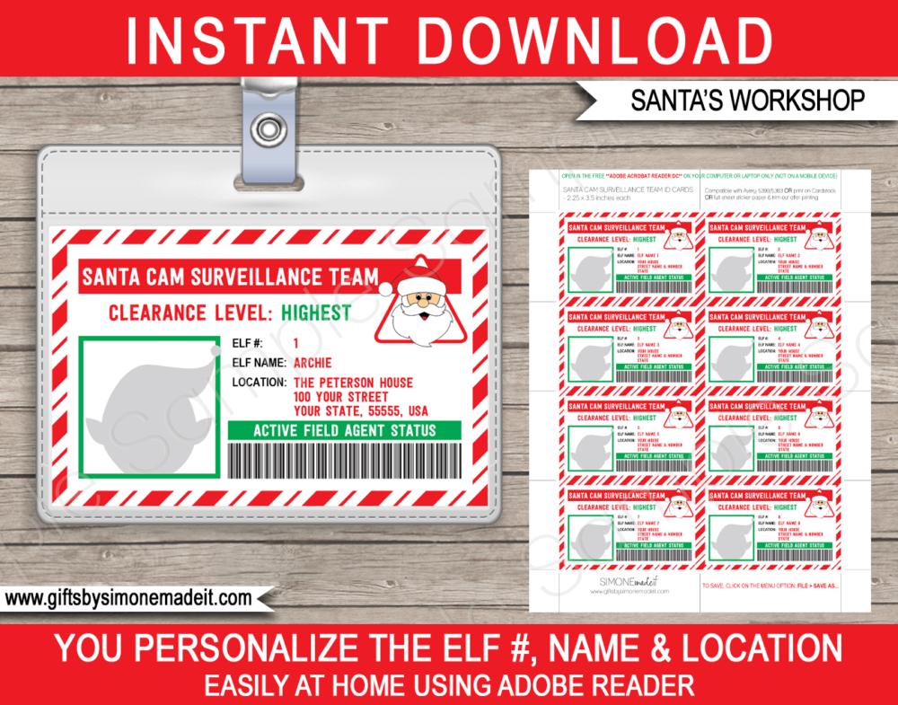 Lost Elf Id Card Template Christmas Santa Cam Surveillance Badges Id Card Template Christmas Templates Christmas Gift Card Holders