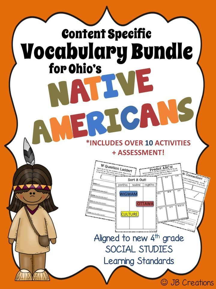 4th Grade Native American Content Specific Vocabulary ...