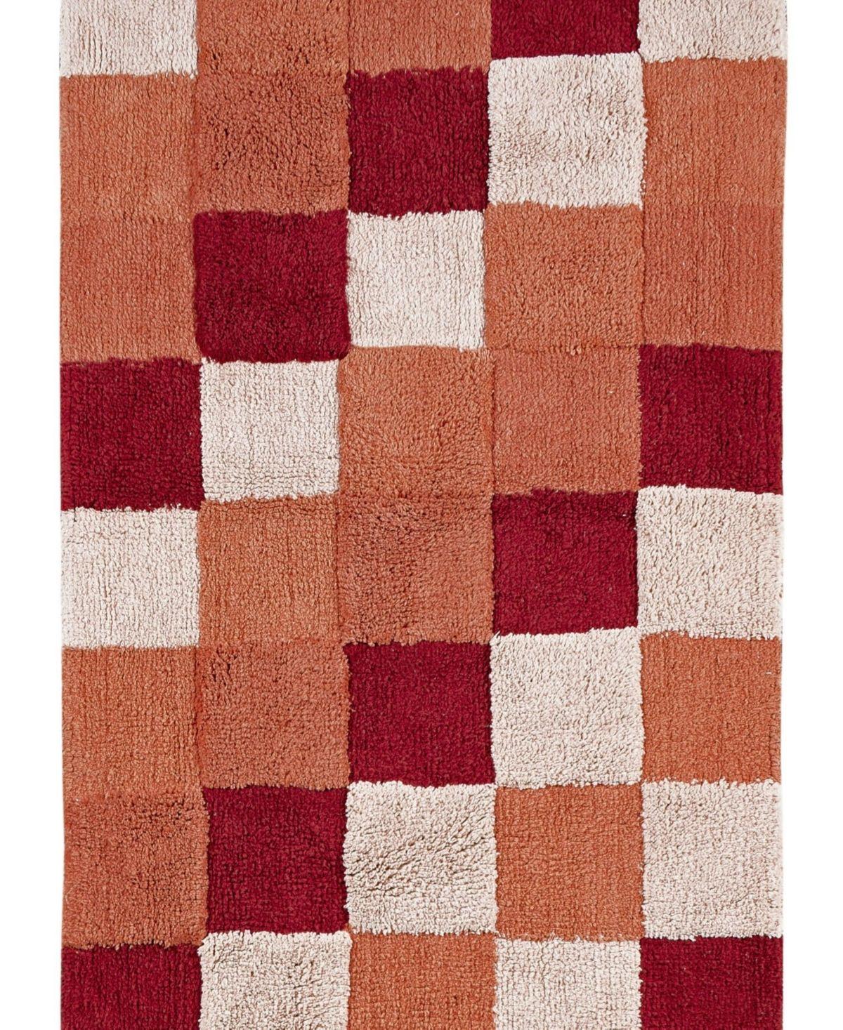 Better Trends Tiles 2 Piece Bath Mat Set Dark Red Bath Mat