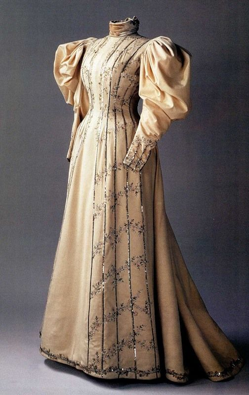 Tambour-embroidered beige visiting dress with sequins and velvet collar, by Nadezhda Lamanova, Russian, 1890s. Made for Empress Alexandra Feodorovna.