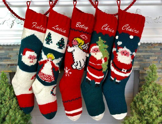 Custom Christmas Stockings.Christmas Stocking Personalized Knit Mary Maxim Bernat Santa
