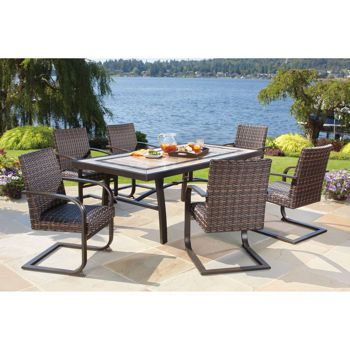 Costco 1500 Santa Ana 7 Piece Resin Wicker Patio Dining Set Deck Pinterest And Patios