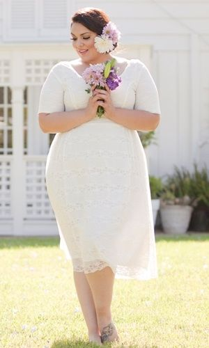 White dress summer dress or casual wedding gown. Big beautiful curvy ...
