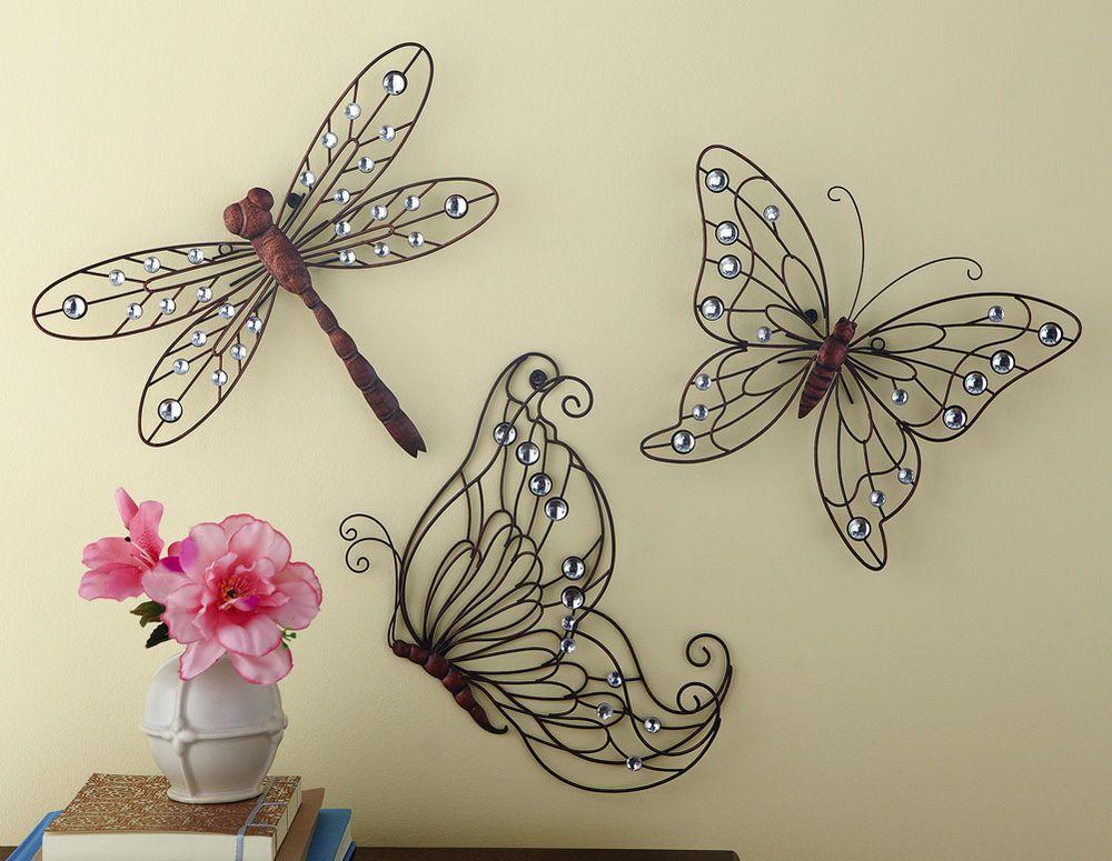Fluttering Metal Wall Decor Trio Gems Acrylic Crystal Bronze Finish  Dragonfly