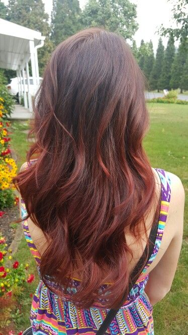 Dark Brown Hair With Red Ombre Light Brown Hair Ombre Hair Color Brown Hair With Highlights