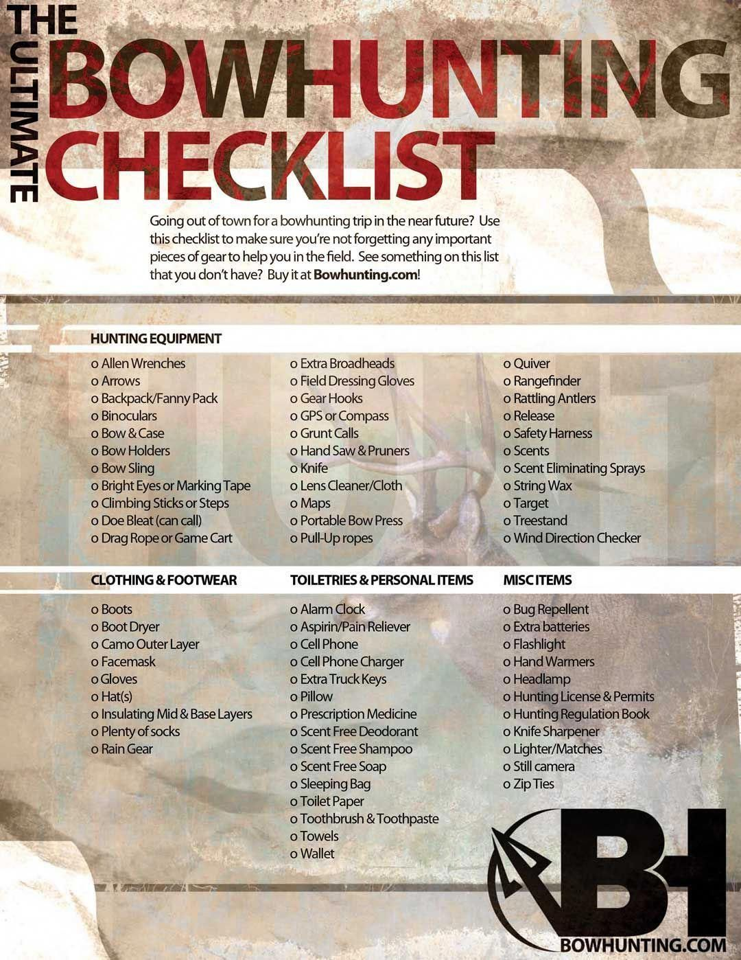 Bowhunters checklist bow hunting turkey hunting