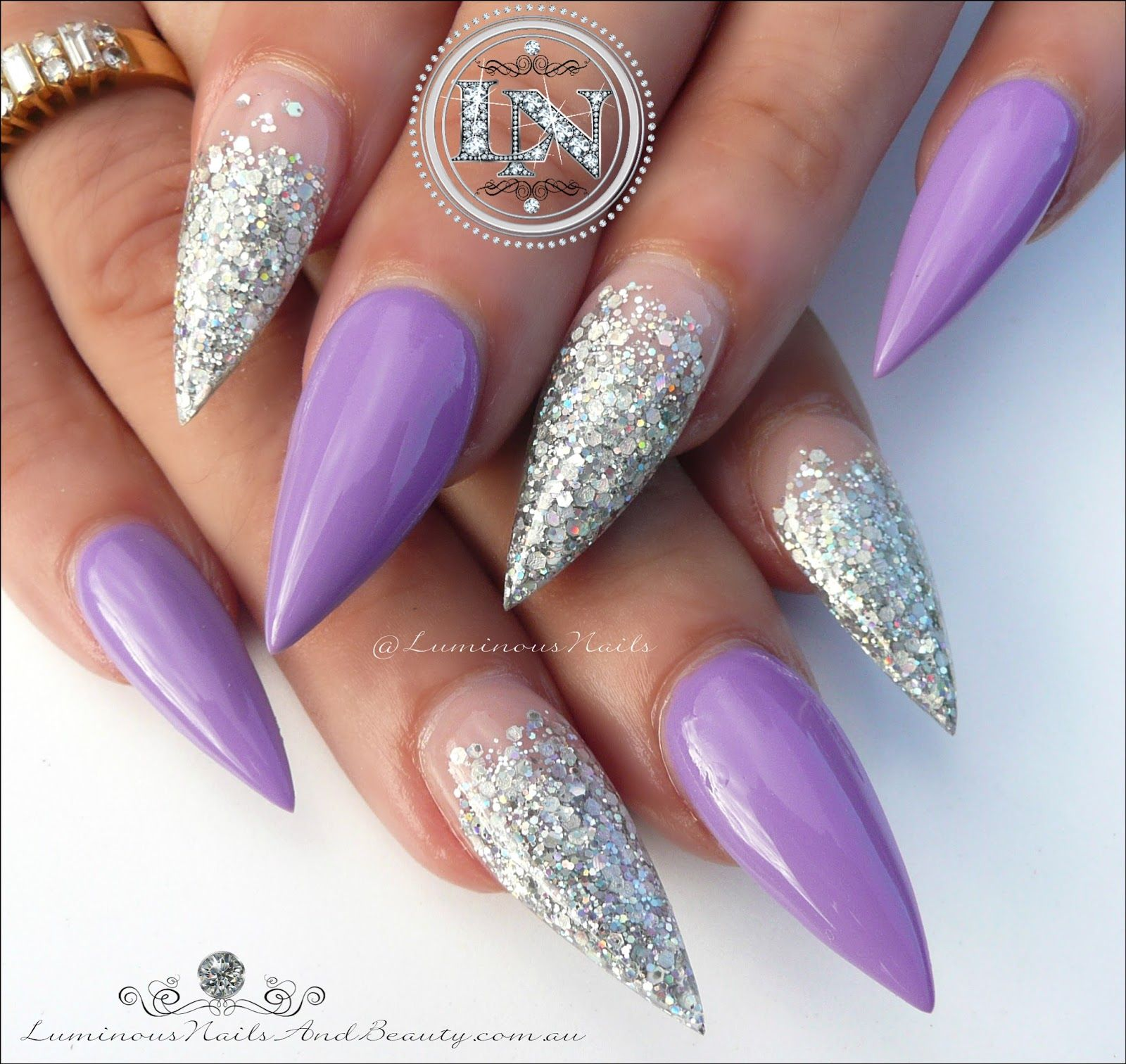 Stunning Purple Silver Sculptured Acrylic Gel Nails Gold Coast Australia