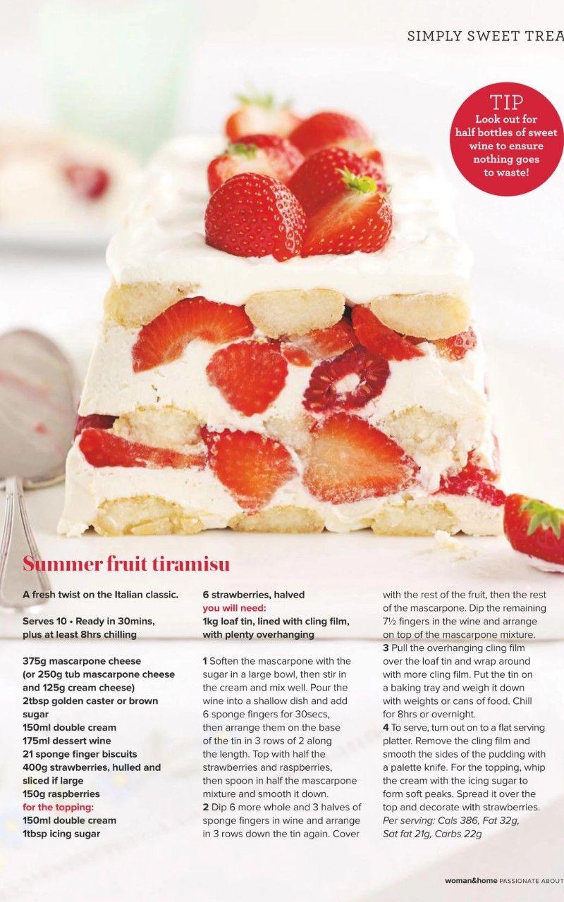 Summer Fruit Tiramisu Sweet Wine Dessert Recipes Summer Fruit